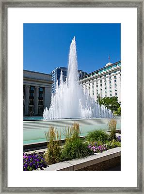 Fountain At The Temple Square, Salt Framed Print by Panoramic Images