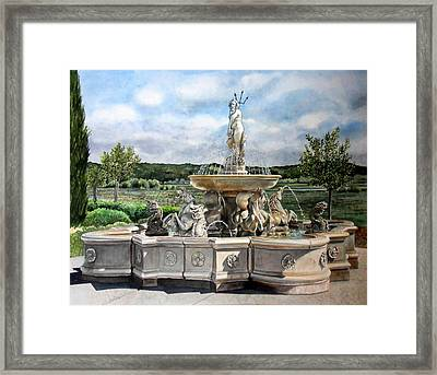 Framed Print featuring the painting Fountain At The Vineyards Edge by Gail Chandler