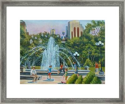 Fountain At Washington Square Park New York Framed Print