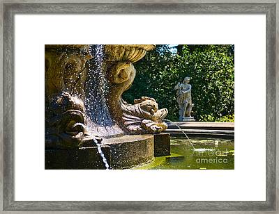 Fountain Details - Iconic Fountain At The Huntington Library Framed Print