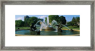 Fountain In A Garden, J C Nichols Framed Print by Panoramic Images