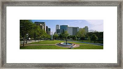 Fountain In A Park, Austin, Texas, Usa Framed Print by Panoramic Images