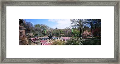 Fountain In A Park, Bethesda Fountain Framed Print by Panoramic Images
