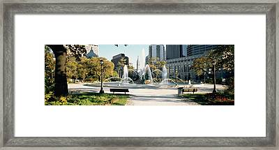 Fountain In A Park, Swann Memorial Framed Print by Panoramic Images
