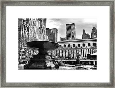 Fountain In Bryant Park Mono Framed Print by John Rizzuto
