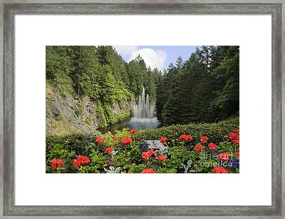 Fountain In Butchart Gardens Framed Print