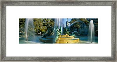 Fountain In Front Of A Building, Logan Framed Print by Panoramic Images