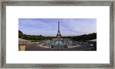 Fountain In Front Of A Tower, Eiffel Framed Print by Panoramic Images