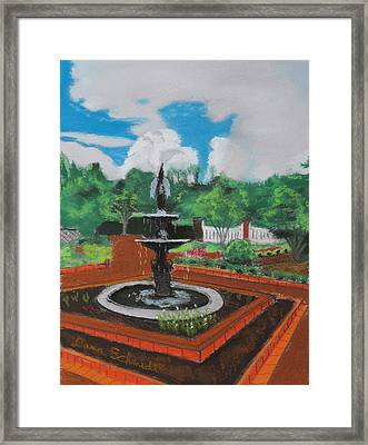Fountain In Ga Official Botanical Garden At Athens Framed Print