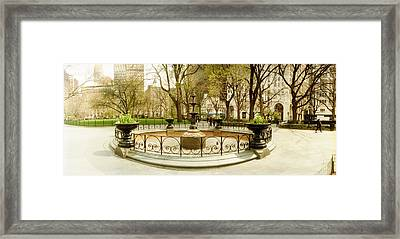 Fountain In Madison Square Park Framed Print by Panoramic Images