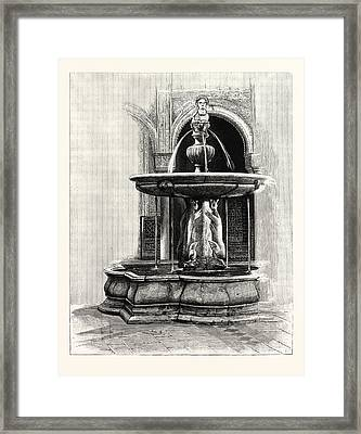 Fountain In Patio Of Pilates House, Seville Framed Print by Spanish School