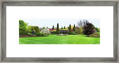 Fountain In Peace Garden, Chicago Framed Print