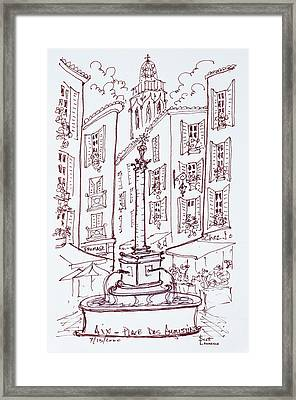 Fountain In Place Des Augustine, Aix En Framed Print