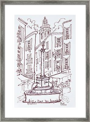 Fountain In Place Des Augustine, Aix En Framed Print
