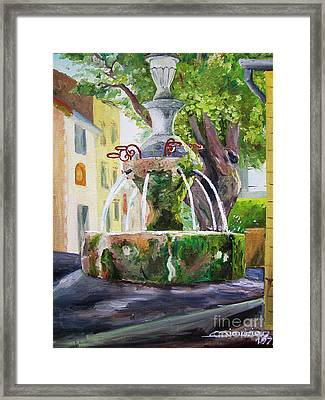 Fountain In Provence Framed Print
