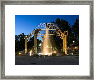 Fountain In Riverfront Park Framed Print