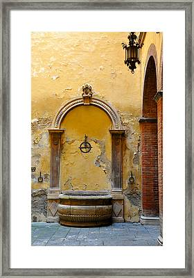 Fountain In Sienna Framed Print