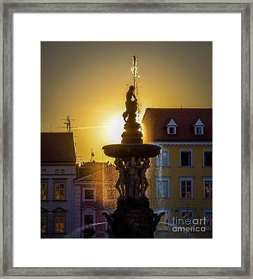 Fountain In Sunset Framed Print by Filip Masopust