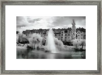 Fountain In The Lake  Framed Print by Odon Czintos