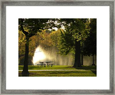 Framed Print featuring the photograph Fountain Mist by Teresa Schomig