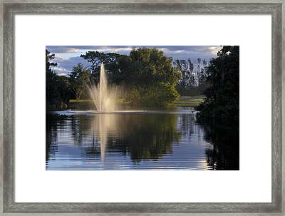 Fountain On Golf Course Framed Print by M Cohen