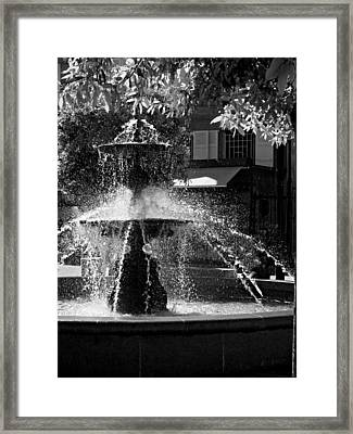 Framed Print featuring the photograph Fountain On Place Toulzac / Brive La Gaillarde by Barry O Carroll