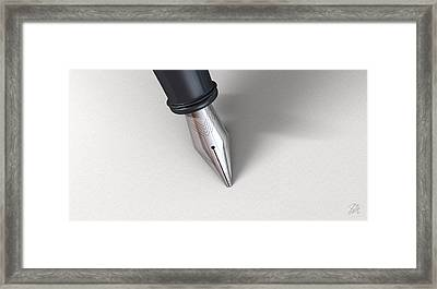 Fountain Pen In Writing Position Framed Print