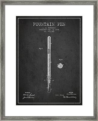 Fountain Pen Patent From 1884 - Charcoal Framed Print by Aged Pixel