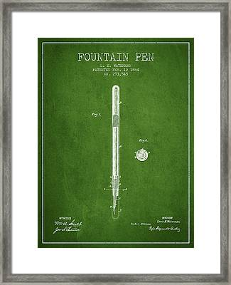 Fountain Pen Patent From 1884 - Green Framed Print by Aged Pixel