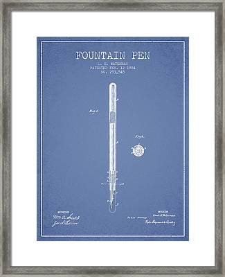 Fountain Pen Patent From 1884 - Light Blue Framed Print by Aged Pixel