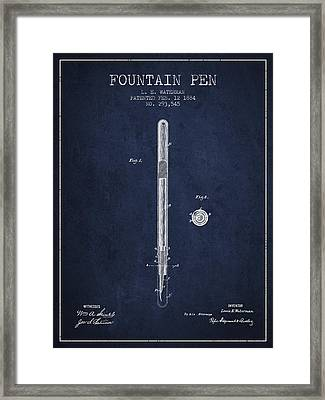 Fountain Pen Patent From 1884 - Navy Blue Framed Print by Aged Pixel