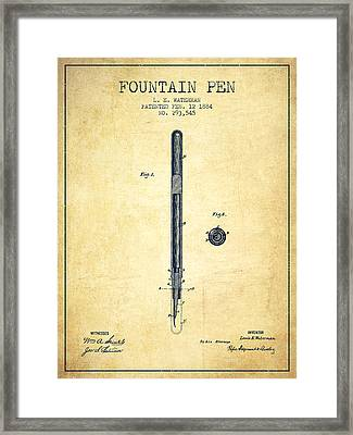 Fountain Pen Patent From 1884 - Vintage Framed Print by Aged Pixel
