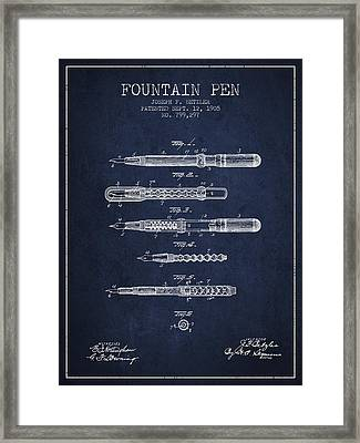 Fountain Pen Patent From 1905 - Navy Blue Framed Print by Aged Pixel