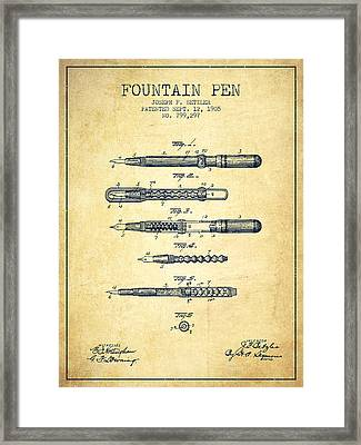 Fountain Pen Patent From 1905 - Vintage Framed Print