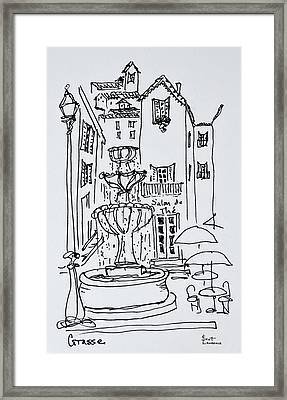 Fountain Plaza, Grasse, France Framed Print