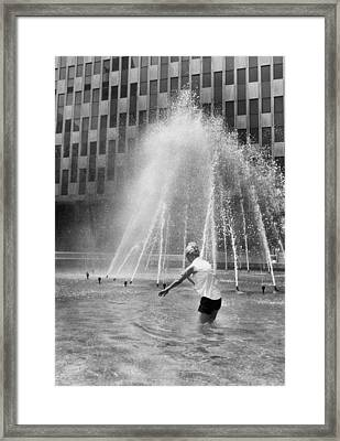 Fountain Relief Framed Print by Underwood Archives