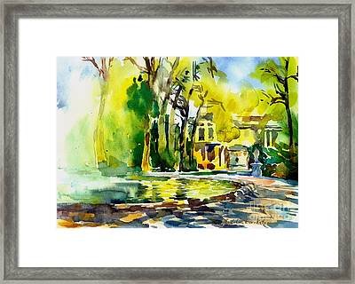 Fountain Spray - Brussels In Spring Framed Print by Anna Lobovikov-Katz