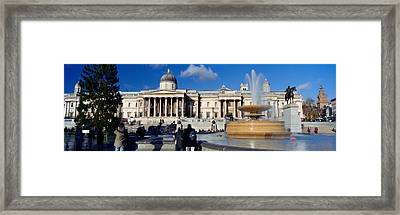 Fountain With A Museum On A Town Framed Print