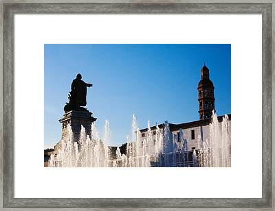 Fountain With A Statue At Place Framed Print by Panoramic Images