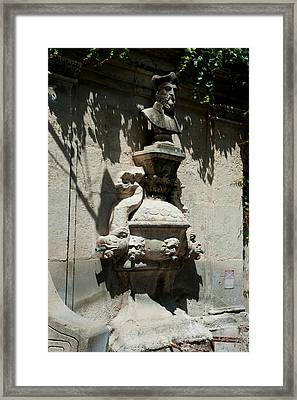 Fountain With The Bust Of Nostradamus Framed Print by Panoramic Images