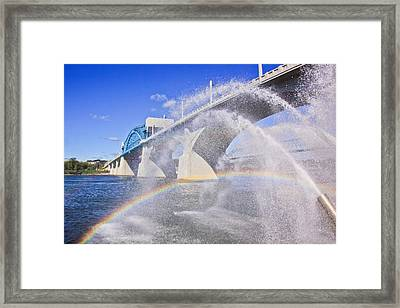 Fountains And The Market Street Bridge Framed Print by Tom and Pat Cory