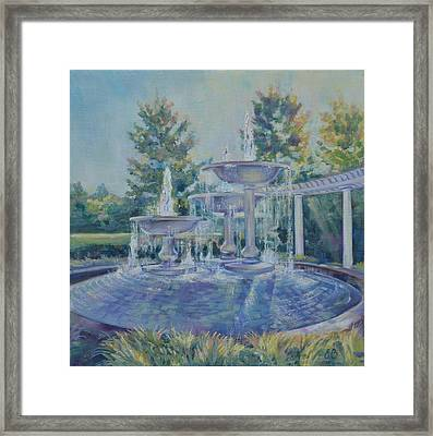Fountains At Noon Framed Print by Elena Broach