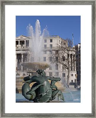 Fountains In Trafalgar Square Framed Print