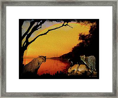 Four At Waterhole Framed Print
