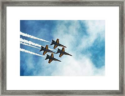 Four Blue Angels  Framed Print by James David Phenicie