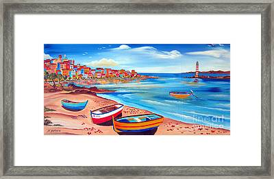 Four Boats And Lighthouse Framed Print by Roberto Gagliardi