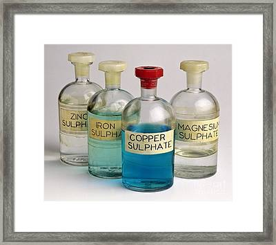 Four Bottles Of Sulphate Solutions Framed Print