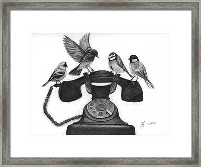 Four Calling Birds Framed Print by J Ferwerda