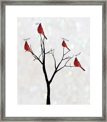 Four Calling Birds Framed Print by Juli Scalzi