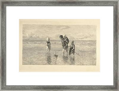 Four Children Playing With Toy Boat On The Beach In Shallow Framed Print by Carel Lodewijk Dake And A. Salmon & Ardail And Frans Buffa En Zonen